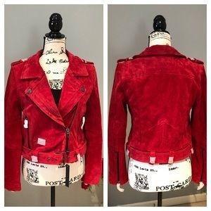 🆕 NWT. Blank NYC 100% Red Leather Moto Jacket
